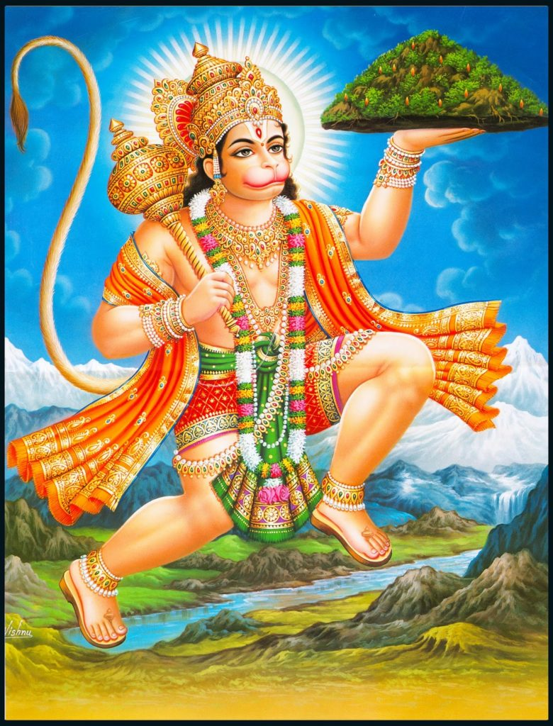 Hanuman in which they have taken mountain on their hand and flying in the air